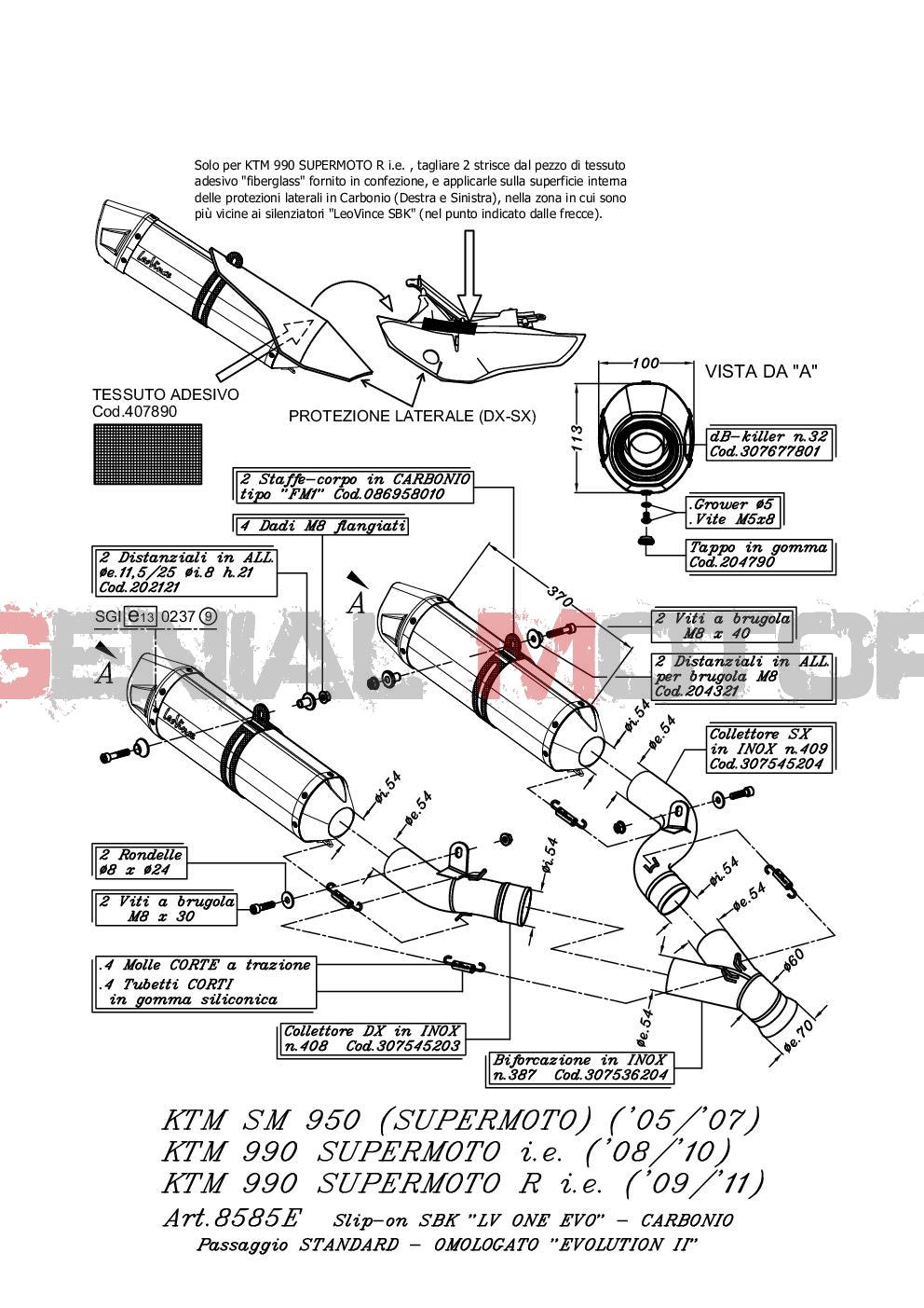 8585E 2 Terminali Scarico Leovince Lv One Evo Carbon Ktm 950 Sm Supermoto 2005 > 2008