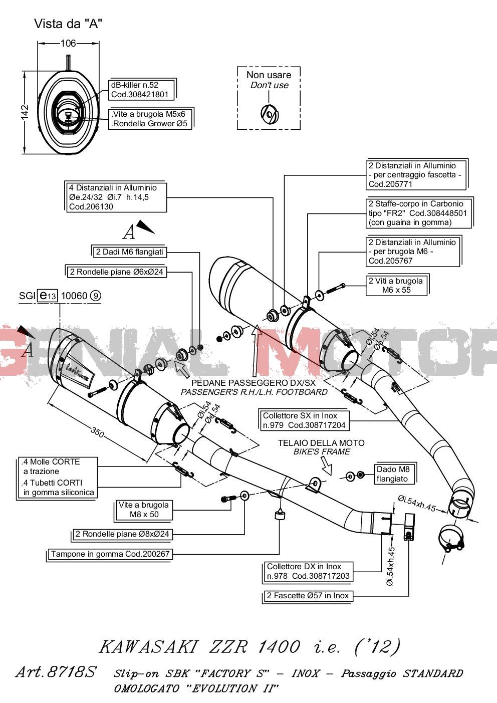 8718S 2 Terminali Scarico Leovince Factory S Acc Kawasaki Zzr 1400/Zx 14 R 2012 > 2015