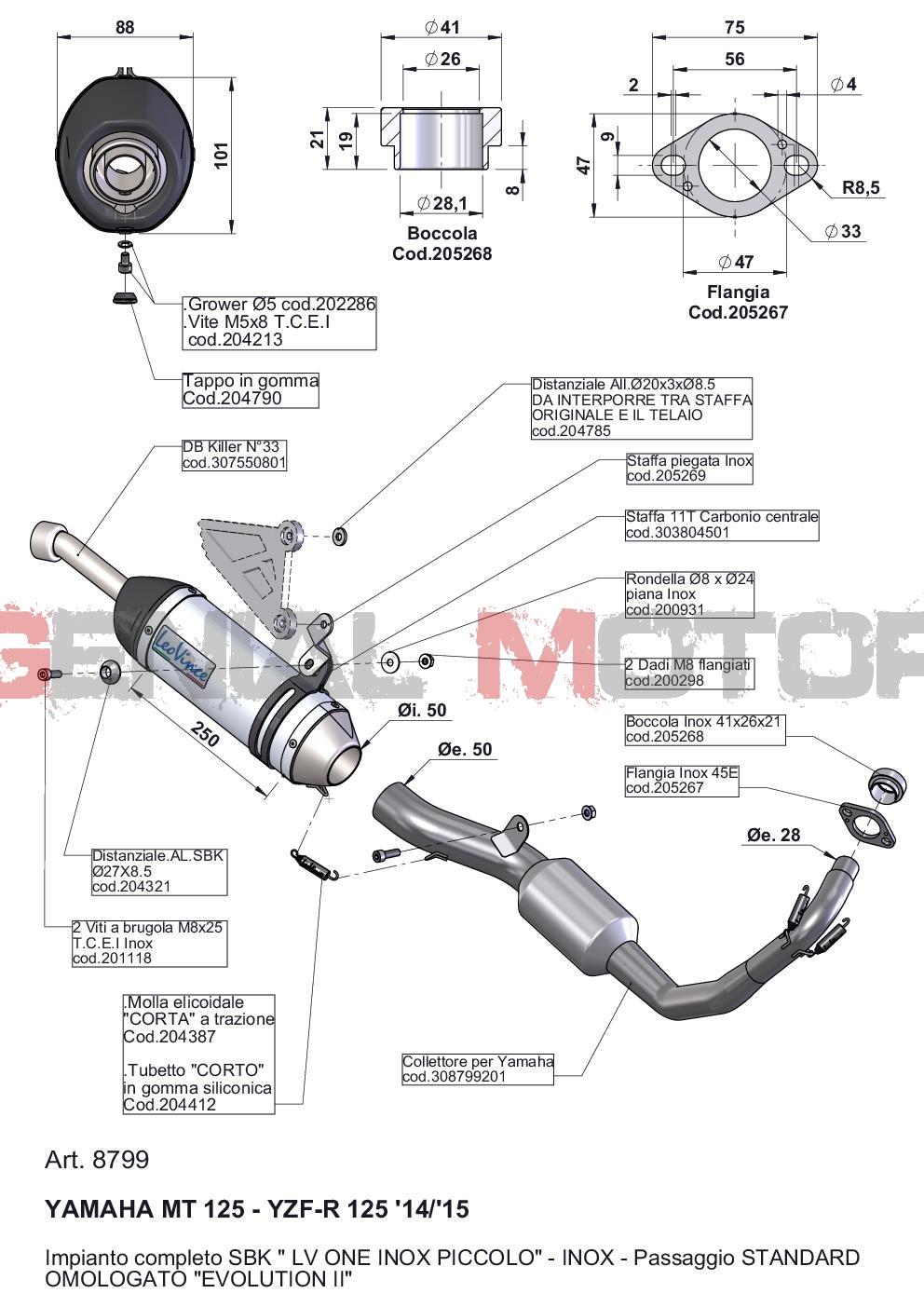 8799 Pot D'Echappement Complete Leovince Lv One Acier Yamaha Mt 125 2014 > 2016