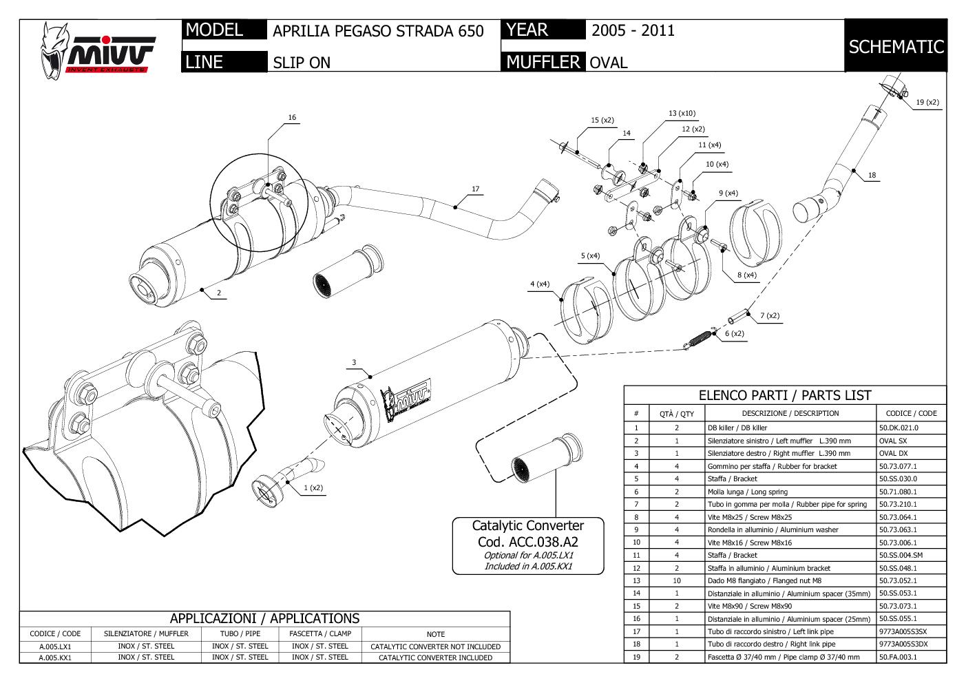 Mivv Exhaust Mufflers Oval Steel For Aprilia Pegaso Strada