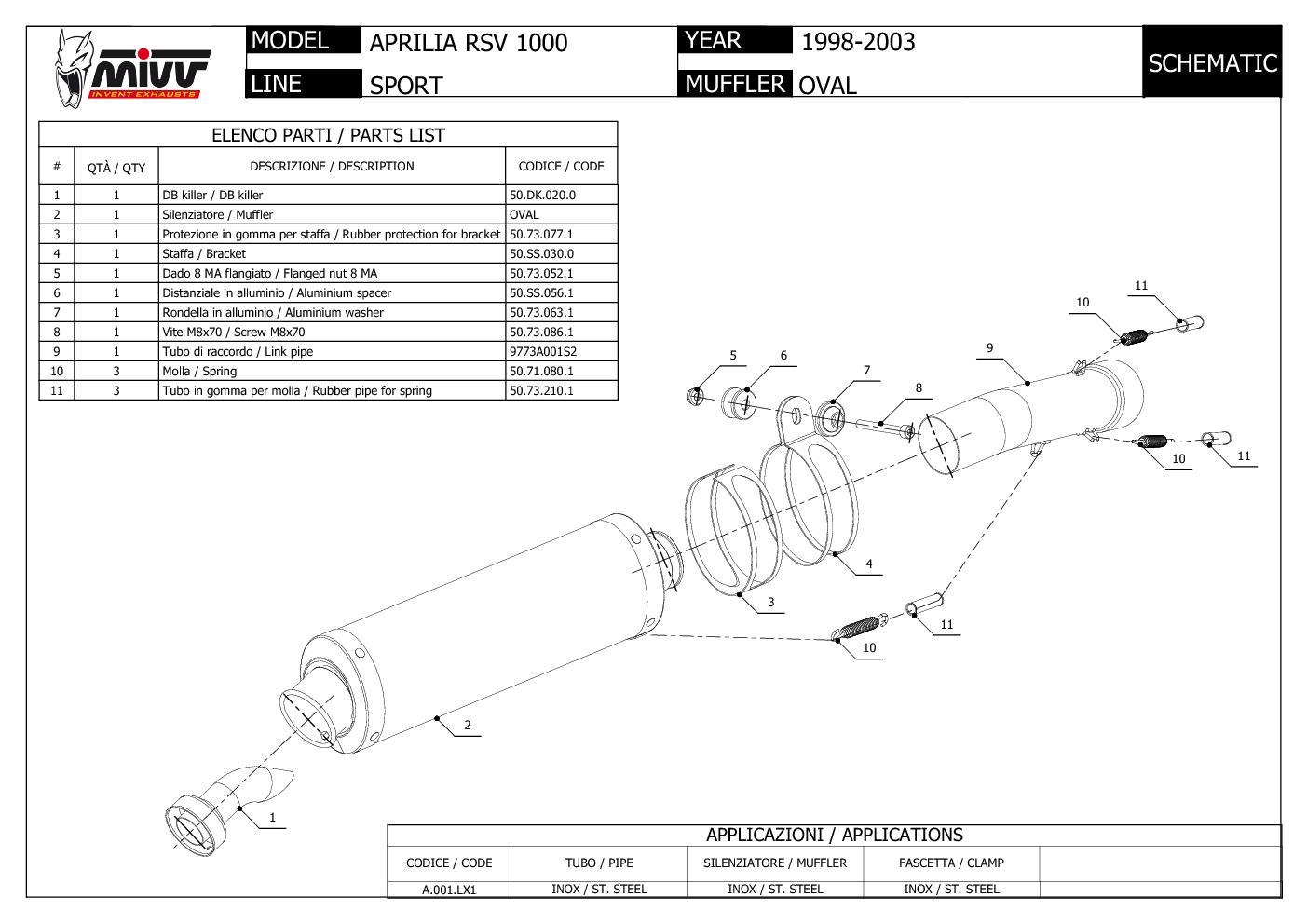 Auspuff exhaust MIVV Oval Carbon fur Aprilia Rsv 1000 1998 > 2003