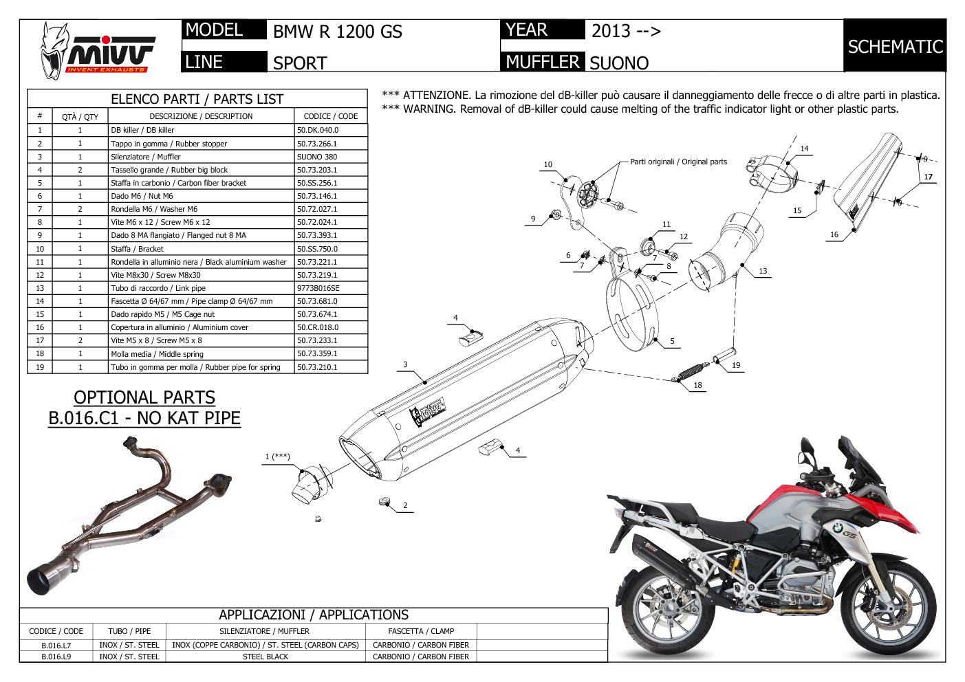 B.016.L7 Mivv Exhaust Muffler Suono Stainless Steel for Bmw R 1200 Gs 2013 > 2020