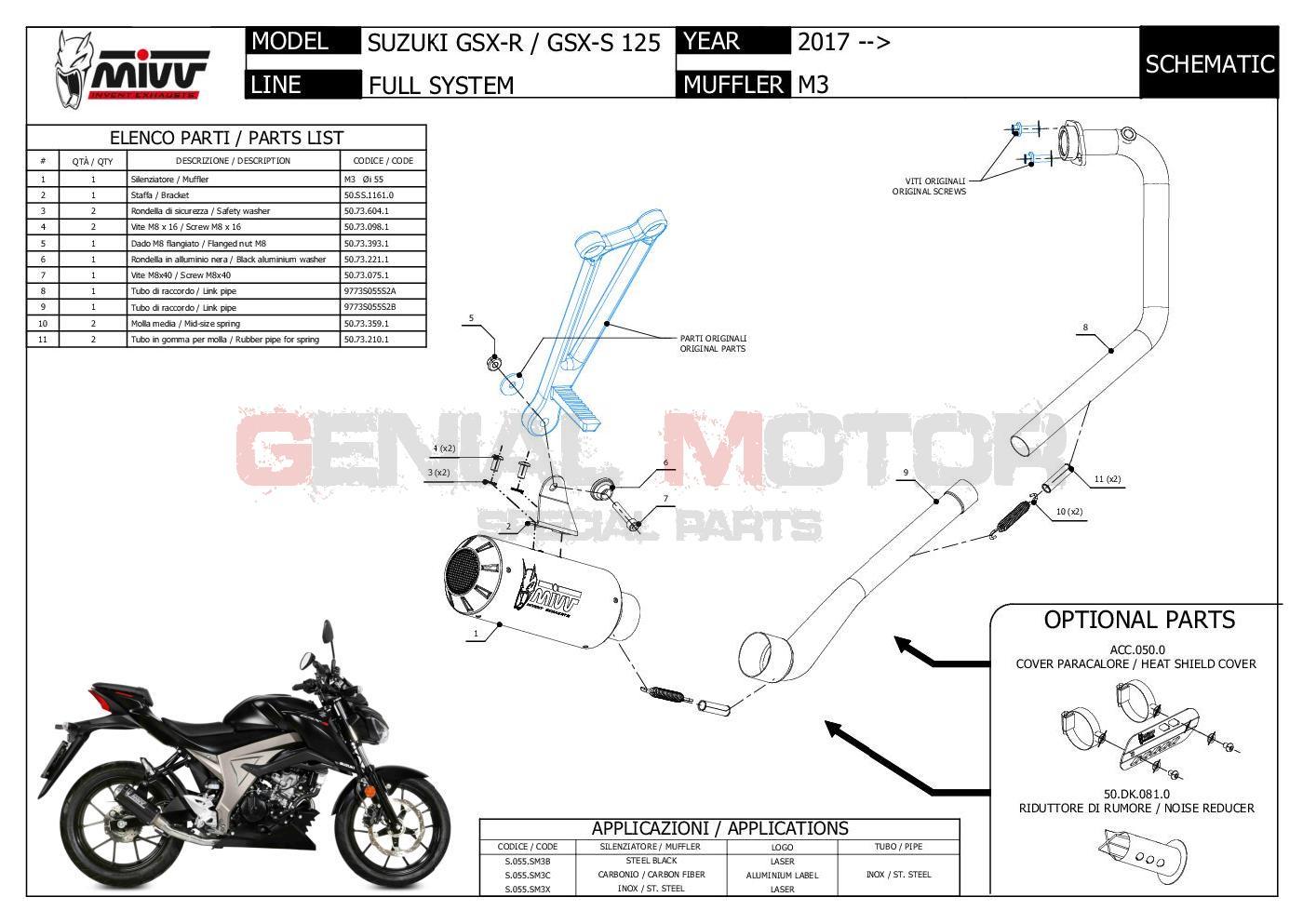 S.055.SM3C Mivv Complete Exhaust MK3 Carbon for SUZUKI GSX-S 125 2017 > 2020
