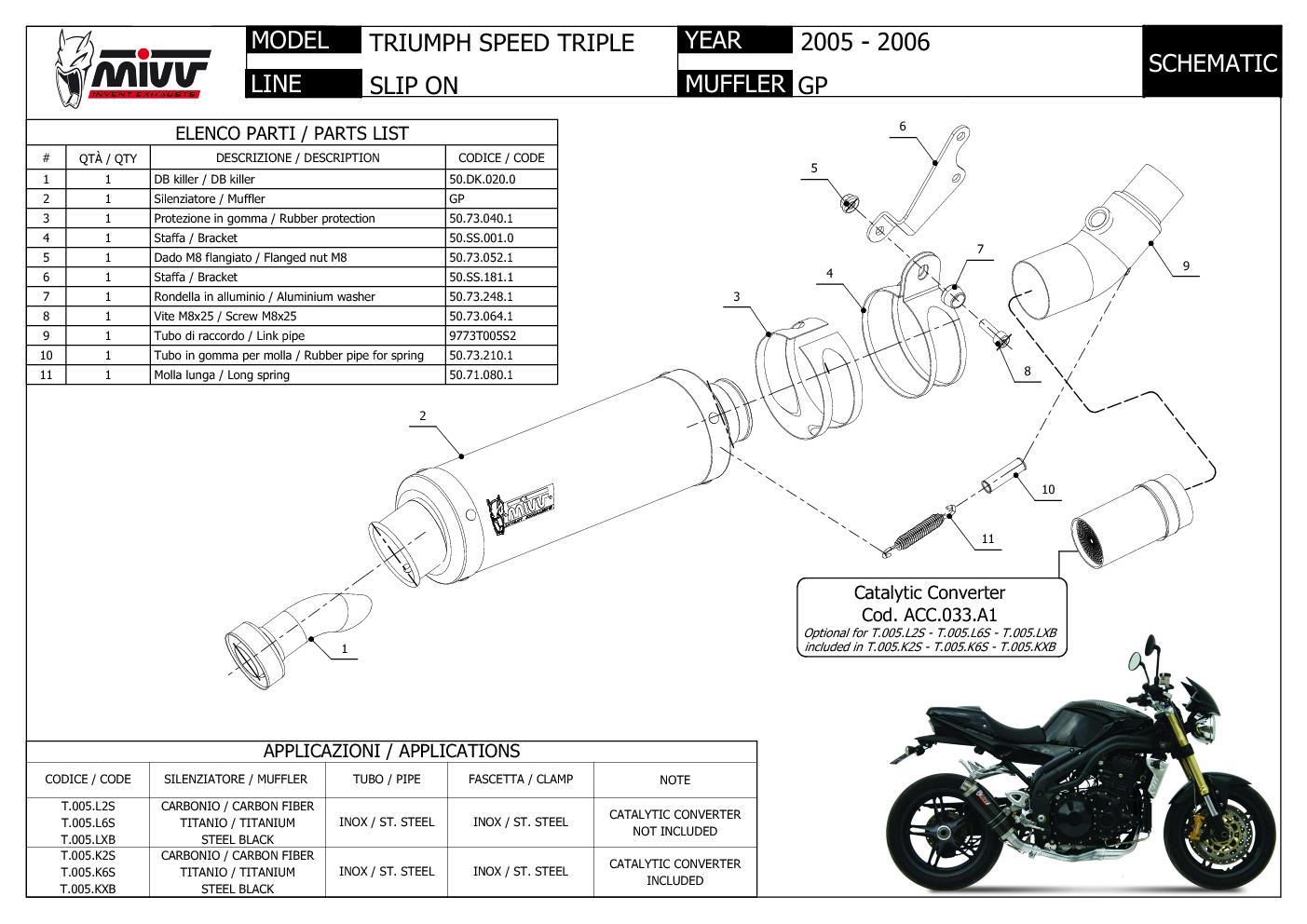 TRIUMPH SPEED TRIPLE 2005-2006 STORM By MIVV Scarico GP