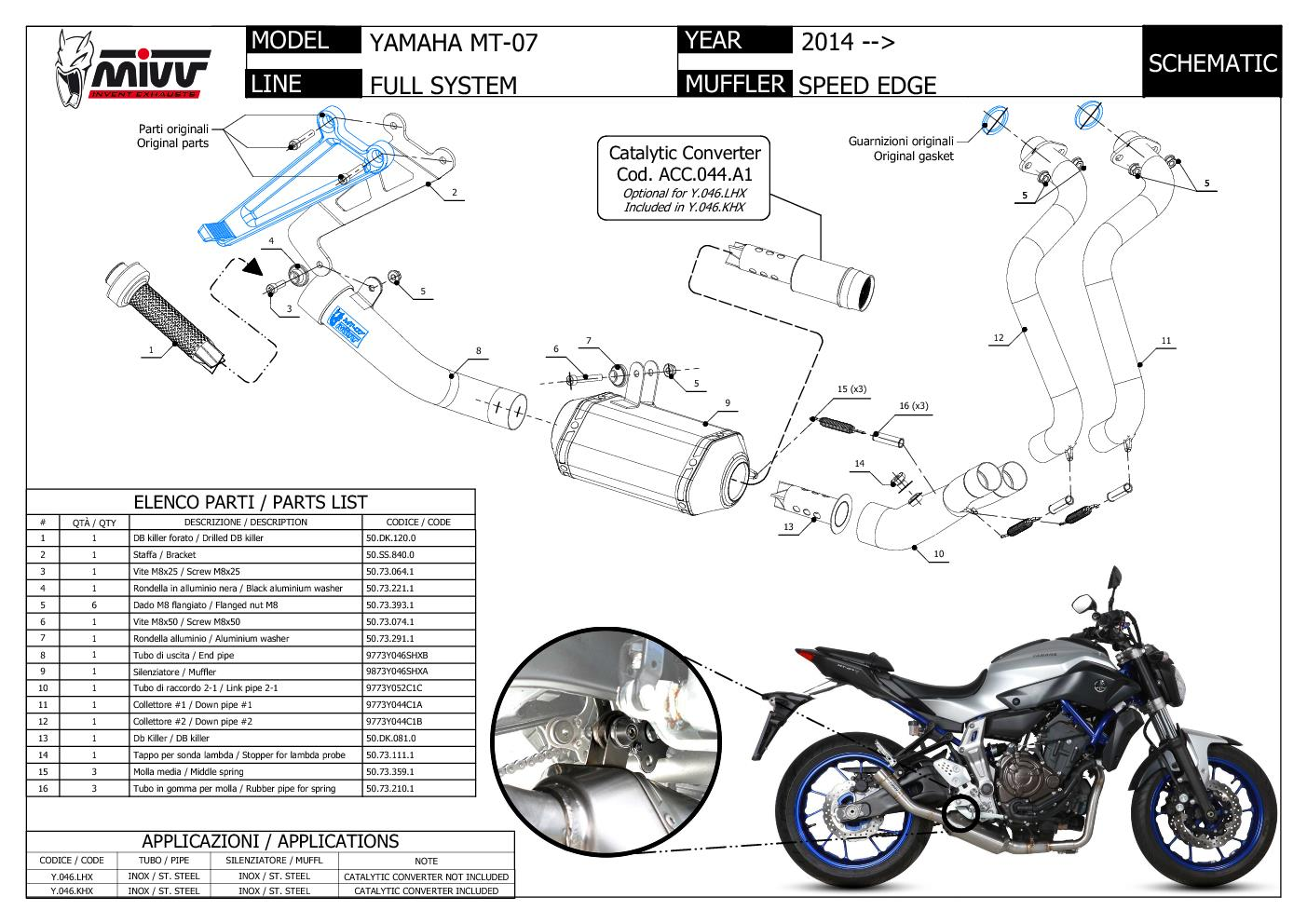 Details about Mivv Complete Exhaust Speed Edge Stainless Steel High Yamaha  Mt-07 2014 > 2018