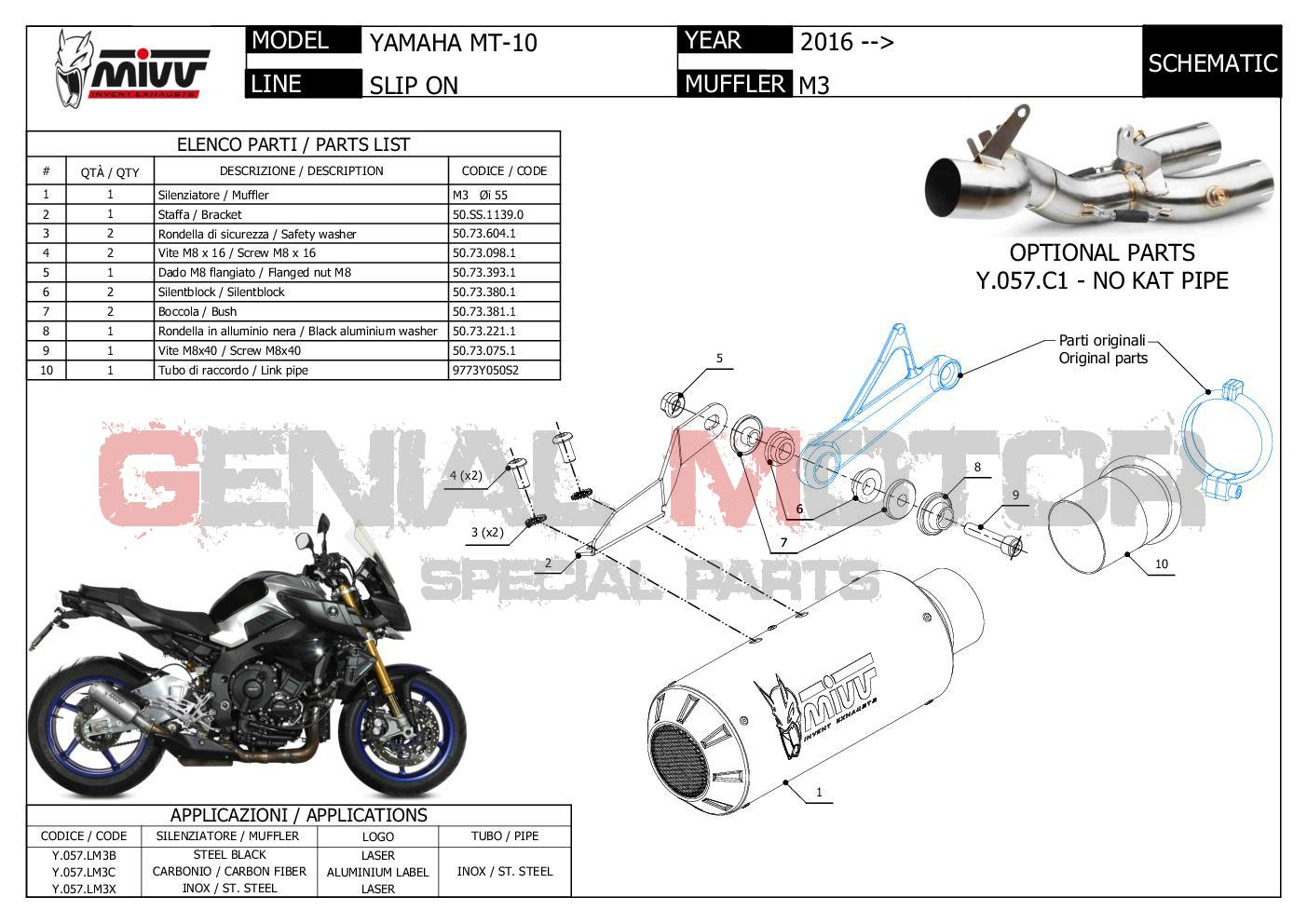 Mivv Approved Exhaust Muffler MK3 Steel for YAMAHA MT-10 2016 > 2018