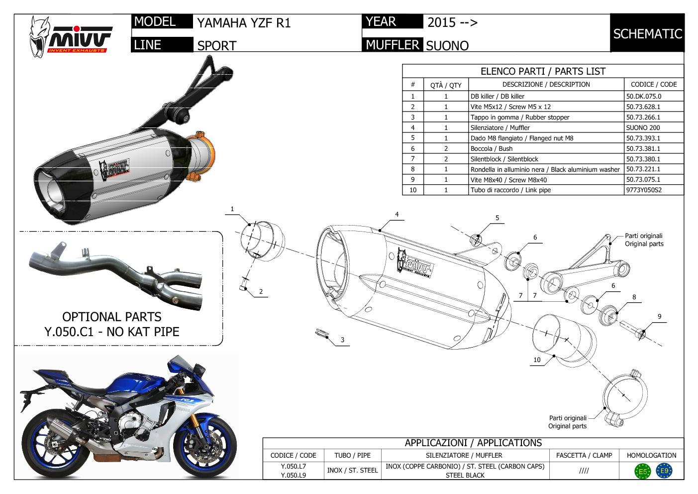 Y.050.L9 Mivv Exhaust Muffler Suono Black Stainless Steel Yamaha Yzf 1000 R1 2015 > 2021