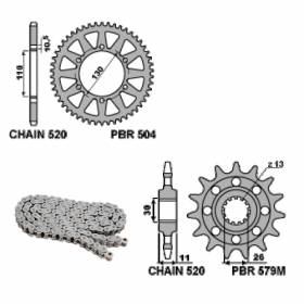 EK1884G Chain and Sprockets Kit 17 / 45 / 520 PBR YAMAHA YZF-R1 2004 > 2005