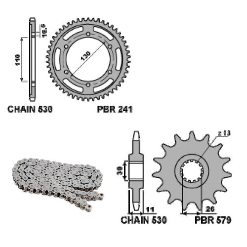 EK1985G Kit chaîne et pignons 17 / 38 / 530 PBR YAMAHA MT01 2006 > 2011