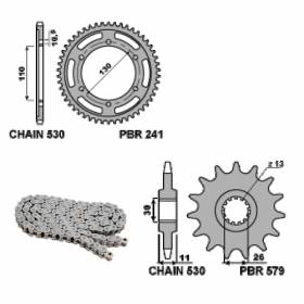 EK2808G Chain and Sprockets Kit 17 / 38 / 530 PBR YAMAHA XJR1300 RACER 2016 > 2017