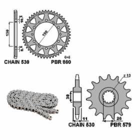 EK818G Chain and Sprockets Kit 17 / 40 / 530 PBR YAMAHA FJ 1986 > 1990