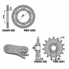 EK887G Chain and Sprockets Kit 16 / 43 / 525 PBR YAMAHA YZF-R1 1998 > 2003