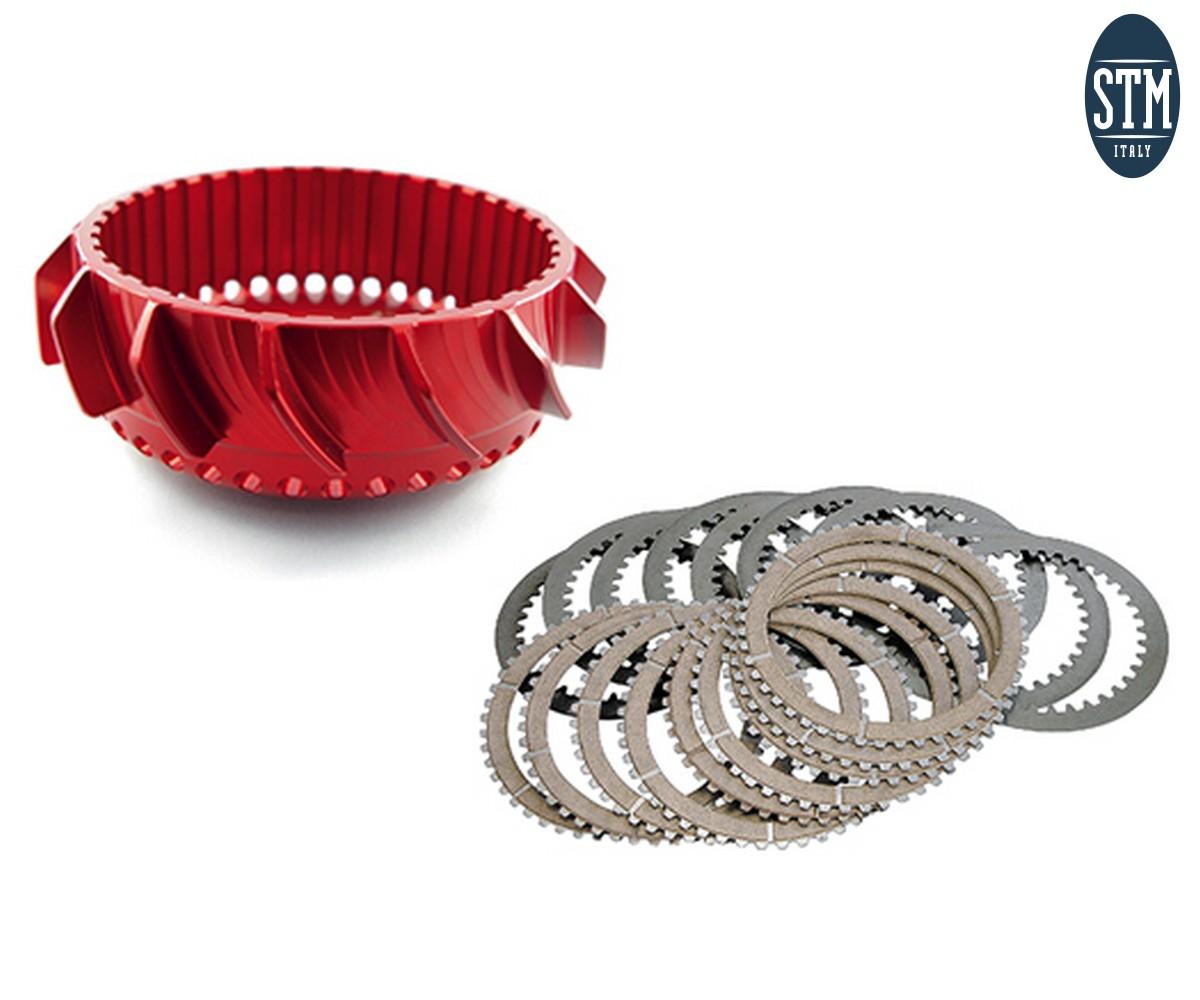 ADU-0018 Dry Basket + Clutch Plate Set Z40 For Stm Evo-Gp Stm Ducati