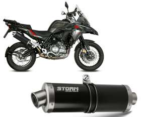 Exhaust Storm by Mivv Oval Black inox for Benelli TRK 502 X 2018 > 2020