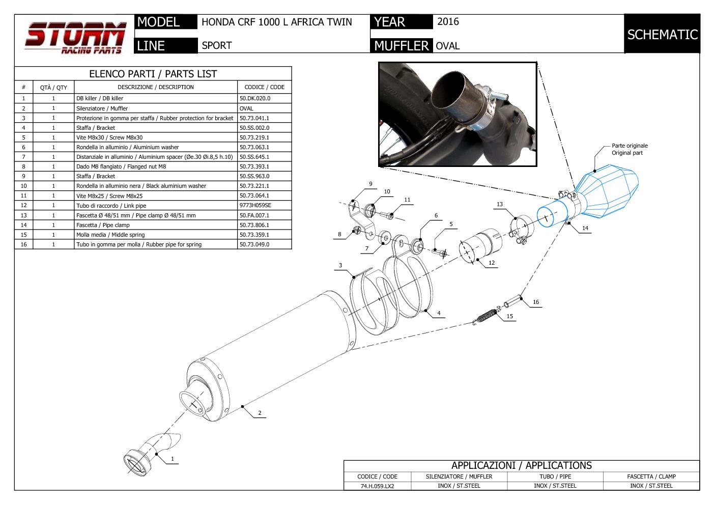 Storm OVAL Exhaust steel approved HONDA CRF1000L AFRICA TWIN 16/>