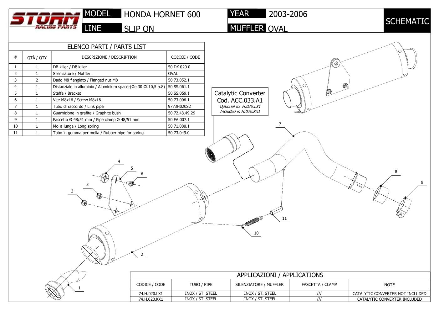 TUBO ESCAPE MIVV HONDA HORNET 600 OVAL 2003 2004 2005 2006