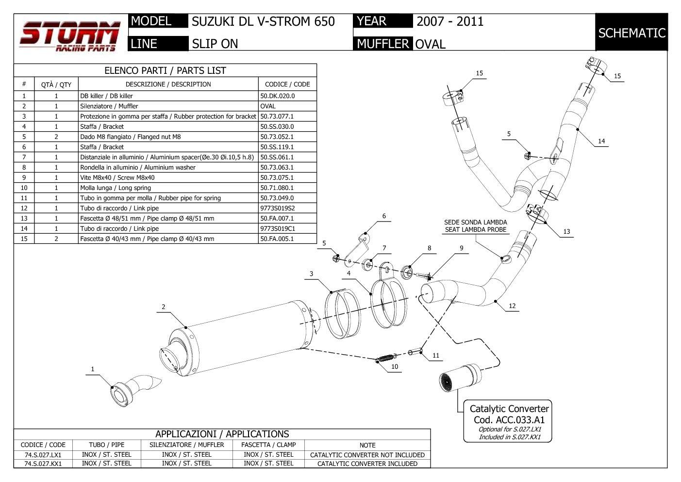 74.S.027.KX1B Catalyzed Exhaust Storm by Mivv Oval Black Inox Suzuki Dl V-strom 650 2007 > 2011