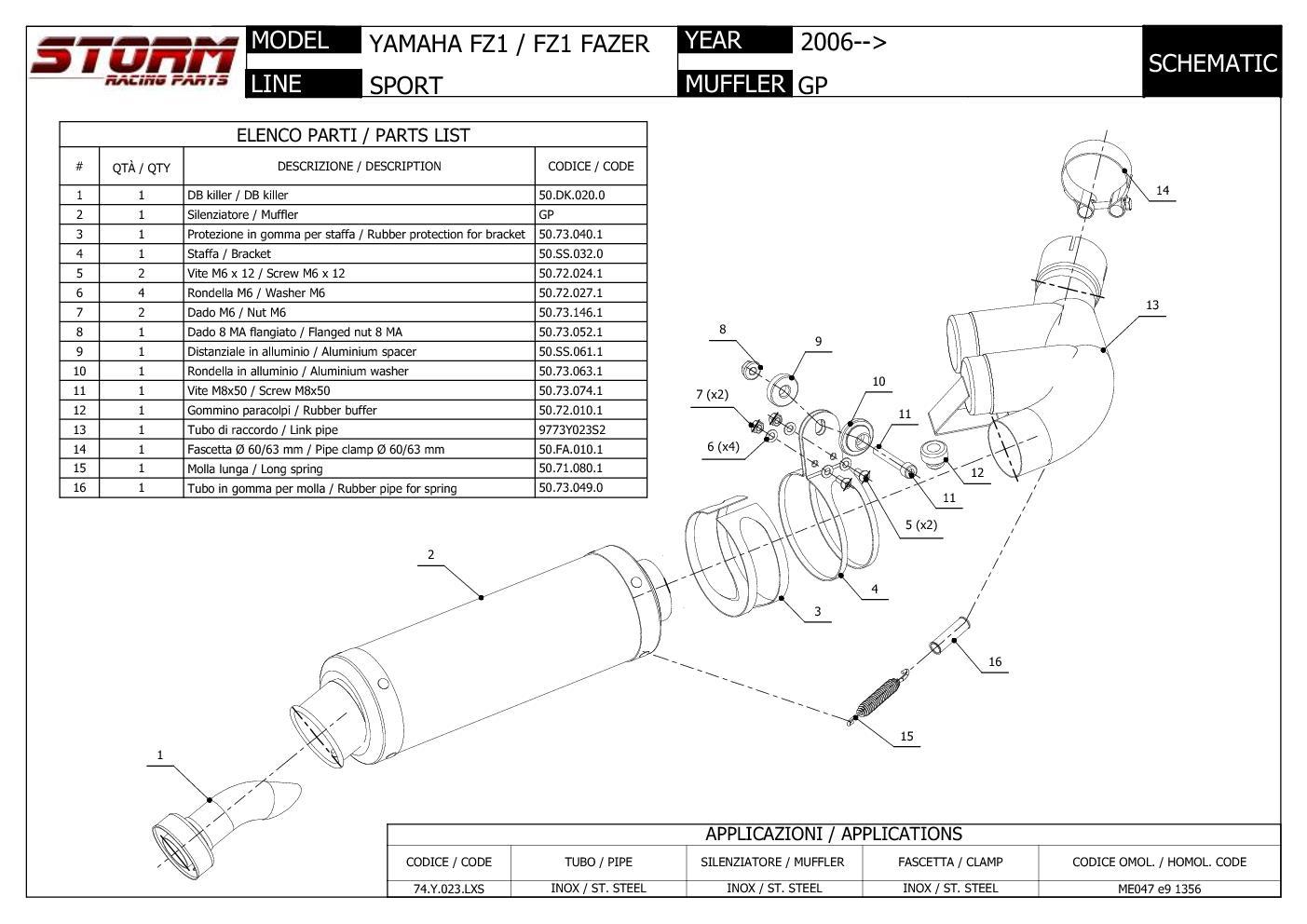 Fz1 Fazer 2006 /> 2016 Auspuff Storm by Mivv Schalldampfer Gp Nero Yamaha Fz1