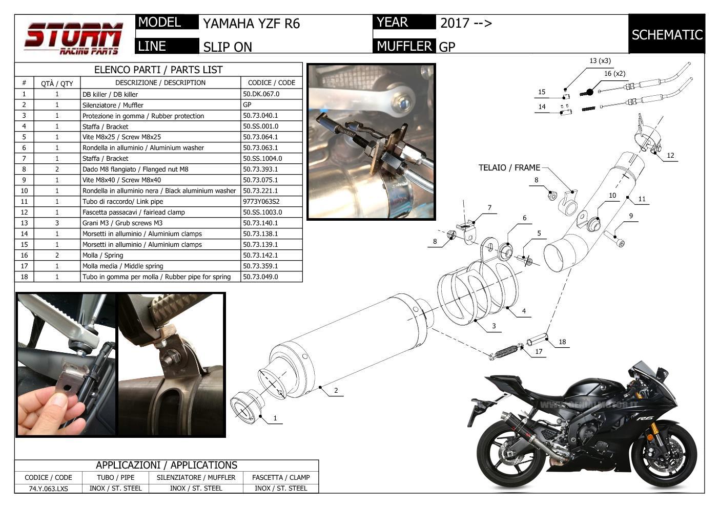 Exhaust Storm By Mivv Muffler Gp Nero Steel For Yamaha Yzf 600 R6 2017 >  2018