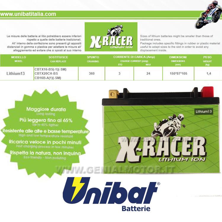 LITHIUM_13 Gilera Fuoco 500 Batteria Litio X-racer Unibat