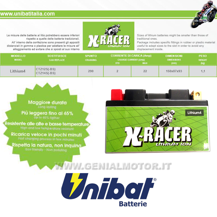Bmw R1200gs Successor Batteria Litio X-racer Unibat