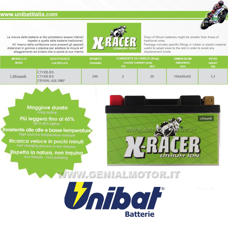 Ducati Monster 695 - 696 Batterie X-racer Unibat