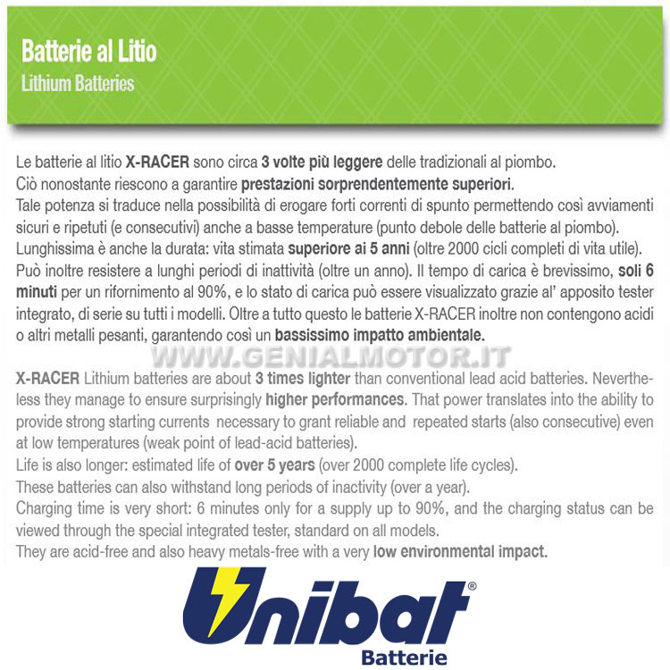 Triumph Daytona 675 R Batteria Litio X-racer Unibat
