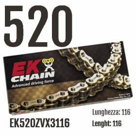 EK520ZVX3116 Chain EK CHAINS Step 520 size 116 for YAMAHA YZF-R1 2004 > 2005 1000