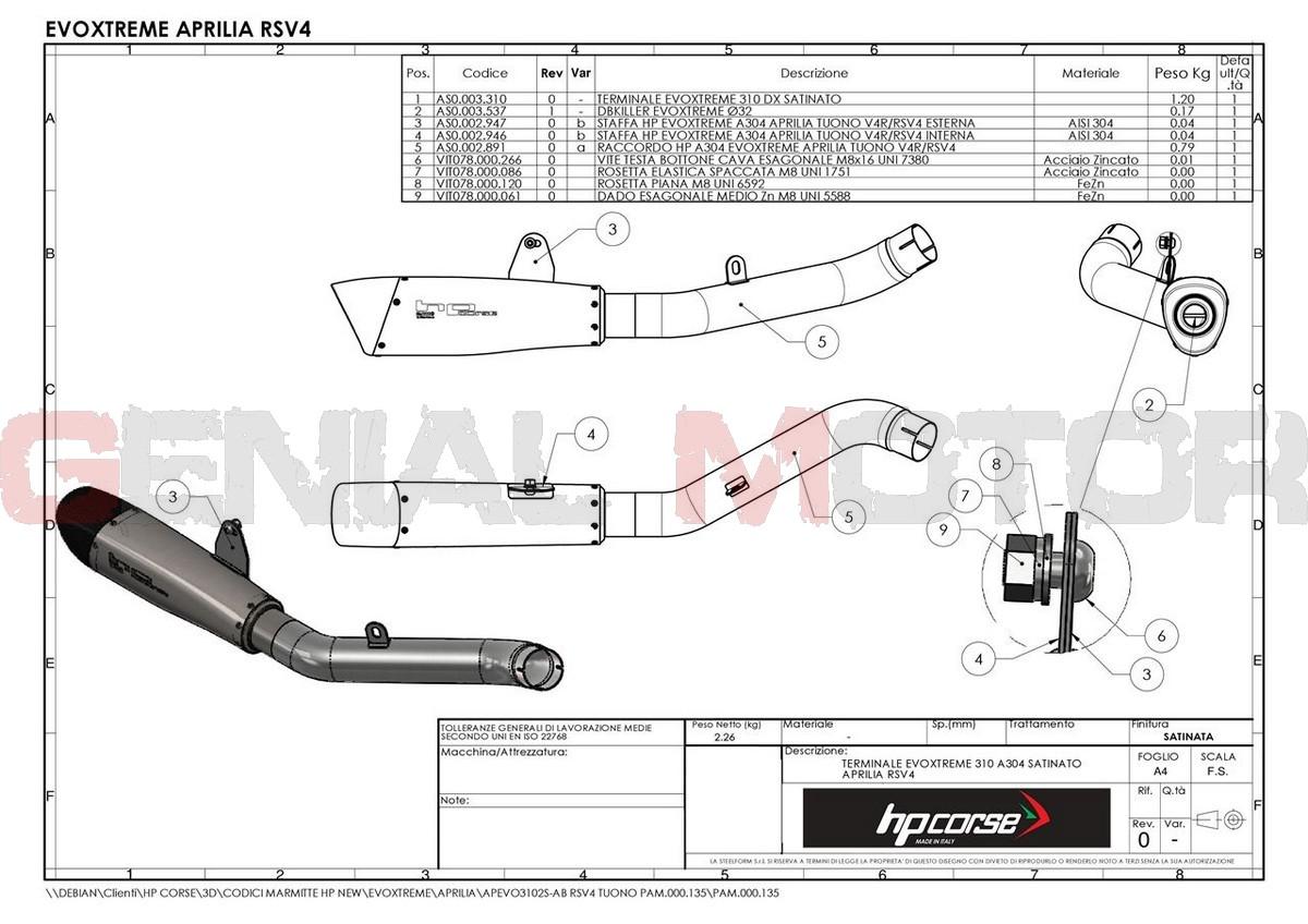 APEVO3101S-AB Pot D'Echappement Hp Corse Evoxtreme 310 Satin Aprilia Tuono V4R 2011 > 2015