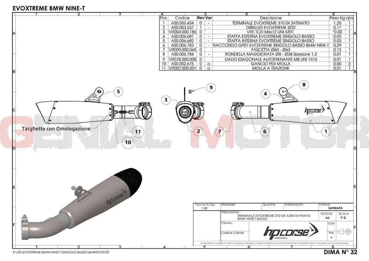 BMWEVO310TLS-AB Pot D'Echappement Hp Corse Evoxtreme 310 Satin Bmw R Nine T 2014 > 2016